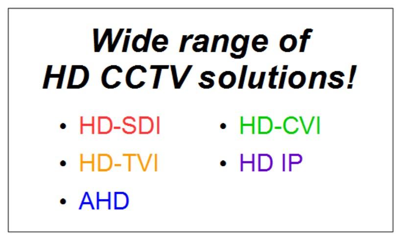 Singapore CCTV HD-SDI, HD-TVI, AHD, HD-CVI and HD-IP Solutions