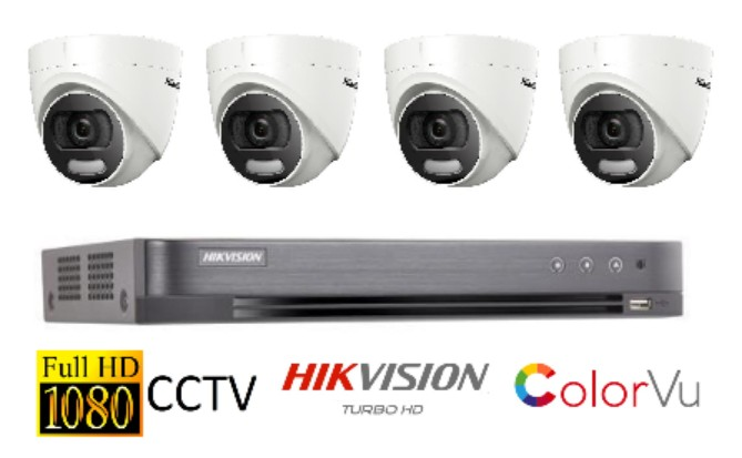 Hikvision ColorVu Singapore 4 CCTV cameras package