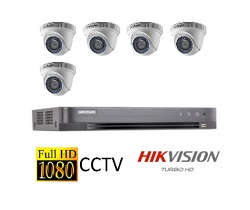 Hikvision Full HD CCTV 5 Cameras System with CCTV 8-Channel Digital Video Recorder