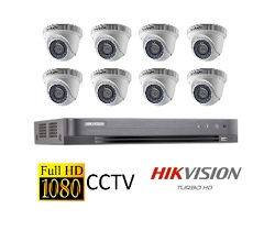 Hikvision Full HD CCTV Camera System with CCTV 8-Channel Digital Video Recorder