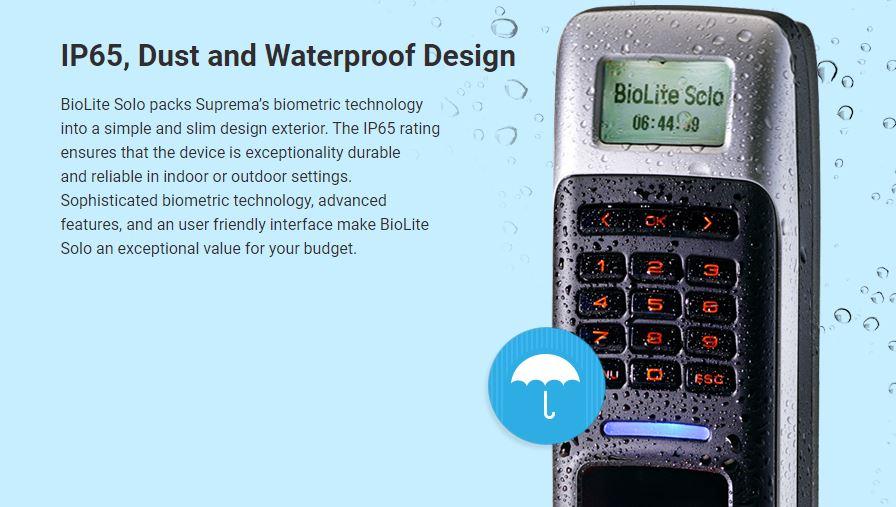 Suprema BioLite Solo Fingerprint Door Access Outdoor Singapore Waterproof
