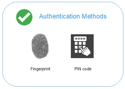 Fingerprint and PIN code authentication